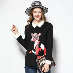 2017 European market and the US market large size women's spring new style kitten prints Blouse overweight ladies stitching Slim long-sleeved T-shirt
