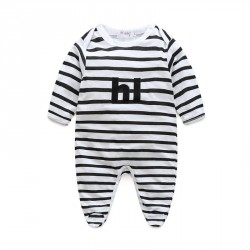 Boy striped long-sleeved striped monogram jumpsuit piece coveralls discount fast delivery low price Spring and Autumn paragraph