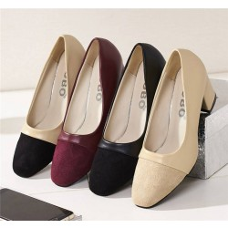 2017 Autumn new square head thick with commuter career ladies shoes dew instep OL work high heels shoes Seasons