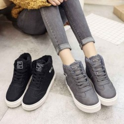 Early spring 2017 plus thick velvet high-top shoes, Ms. warm shoes student flat casual shoes with flat shoes