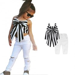 Baby Girl Suspender Striped Bowkont Tops White Ropped Hole Jeans