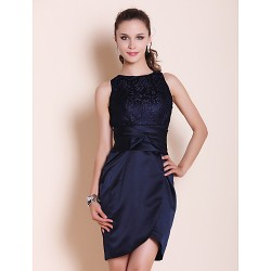 Cocktail Party/Wedding Party Dress- Dark Navy Plus Sizes/Petite Sheath/Column Bateau Short/Mini Satin/Lace