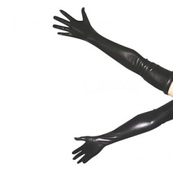 Black Shiny Metallic Gloves(2 Pieces)