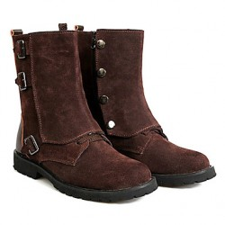 England Style Men & #039;S Real Leather Mid-Calf Winter Boots With Buckle