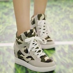 Women & #039;S Shoes Canvas Wedge Heel Comfort/Round Toe Fashion Sneakers Casual Black/Beige