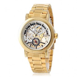 Men & #039;S Hollow Engraving Dial Gold Steel Band Automatic Self Wind Dress Watch (Assorted Colors)