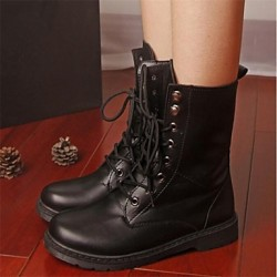 Women & #039;S Shoes Combat Boots Chunky Heel Mid-Calf Boots With Lace-Up