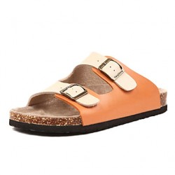 Men & #039;S Shoes Casual Faux Leather Slippers White/Orange