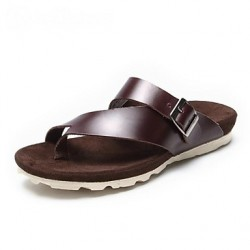 Men & #039;S Shoes Casual Leather Sandals Black/Brown