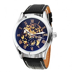 Men & #039;S Classic Skeleton Black Dial Leather Band Automatic Self Wind Wrist Watch