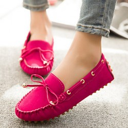 Women & #039;S Shoes Polyester Flat Heel Moccasin/Comfort/Round Toe Loafers Casual Black/Blue/Brown/Yellow/Pink