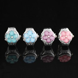 Sweet Plum Clamshell Shape Quartz Multicolor Ring Finger Watch(Blue,Pink)(1Pc)