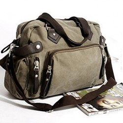 Men & #039;S Canvas Messenger Shoulder Bag- Brown/Black