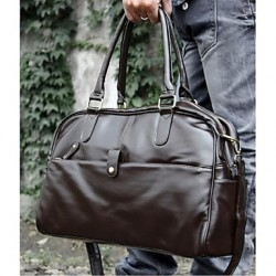 Men & #039;S Weekend Bag Shoulder Bag- Brown/Black