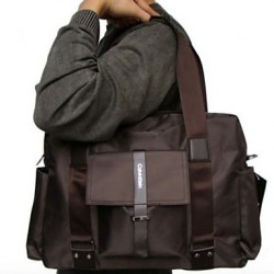 Men & #039;S Polyester Weekend Bag Shoulder Bag- Brown/Black