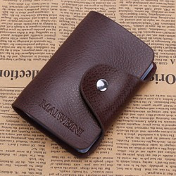 Unisex Cowhide Casual Card & Id Holder- Brown/Black/Burgundy