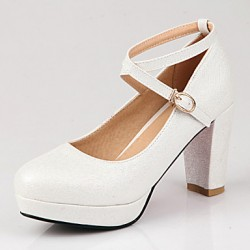 Women & #039;S Shoes Chunky Heel Heels/Platform/Round Toe Heels Wedding/Party & Evening/Dress Pink/Red/White