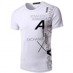 Low price good quality men's casual Slim letters printed round neck short sleeve t-shirt
