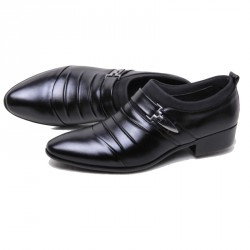 Men's Leather Pointed Formal Wedding Flats Shoes