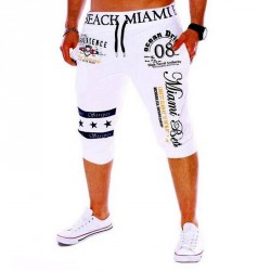 Men's Drawstring Elastic Waist Printing Letter Loose Sports Pants