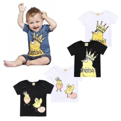 Baby Boy Funny Chicken Pattern Black White Blue T-shirts Tops
