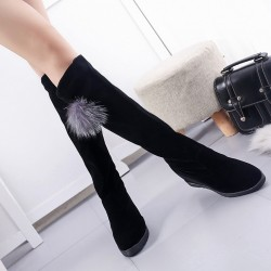 Women's Black Matte Material Knee Boots with Hairball Wedge Footwear