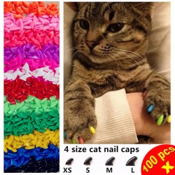 100Pcs/Lot Cat Nail Caps Soft Paw Nail Protector With Free 5X Adhesive Glue + 5X Applicator Xs S M L