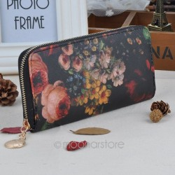 1 Piece Free Shipping New Popular Fashion Selling Women Purse Lady Oil Painting Long Clutch PU Leather Wallet