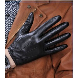 100% Sheep Skin Touch Screen Men Gloves Classic Style Pure Genuine Leather Gloves For Winter Men & #39;S Smart Phone Gloves