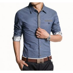 2017 Men & #39;S Casual Long Sleeve Denim Shirt Fashion Slim Fitness Dress Shirts For Office Working Wear Clothing Plus Size M-Xxxl