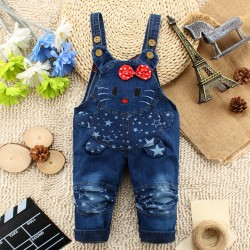 2017 New Arrival Infant Jeans Pant Baby Cartoon Denim Pant Cat Fashionable Design