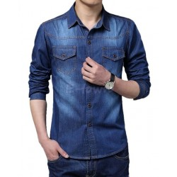 Big Size Men Shirt Denim Large Size 5Xl Cotton Turn-Down Collar Pockets Men Shirts 2017 New Autumn Long Sleeve Blue