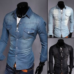 High Quality Denim Shirts Men Casual Shirt Long Sleeve Fashion Slim Camisa Jeans Masculina Mens Jeans Shirts