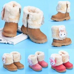 1 Pair Baby Girls Winter Fur Leather Shoes Rabbit Warm Snow Boots 2017 New Brand Children & #39;S Winter Boots For 6-24 Months Kids