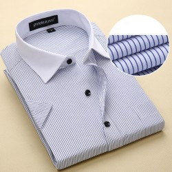2017 New Fashionable Design Summer Short Sleeve Men Shirts Business Casual Striped Fashion Mens Dress Shirts Plus Size Us 6Xl 5Xl 4Xl Xxxl