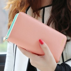 2017 Popular Fashion 7 Colors PU Leather Long Wallets Women Wallets Portable Casual Lady Cash Purse Card Holder Gift N853