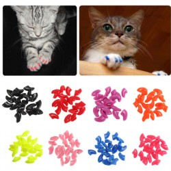 15 Colors-20Pcs/Lot Soft Pet Cat/Dogs Paws Grooming Nail Claw Cap+Adhesive Glue Control Paws Caps Cover Protector Christmas Gift