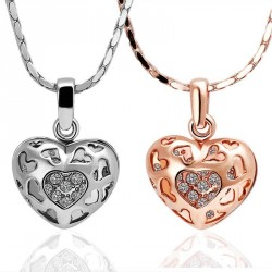 18 gold-plated hollow heart-shaped necklace couple discount European market and the US market Heart Pendant Jewelry