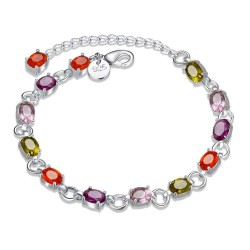 925 silver-plated high-quality products and colorful European market and the US market discount fashion jewelry inlaid zircon bracelet fashion