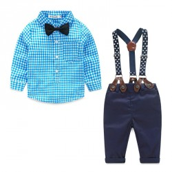 Fast shipping promotion low price children's clothing spring and autumn male Tong Gezi small star pattern shirt strap suit
