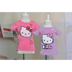 Low price promotional Kids love pattern Girls T-shirt girls summer models at a discount