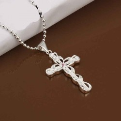 Cross pattern inlaid diamond necklace jewelry sales Contracted fashion hot sales discount silverware N406