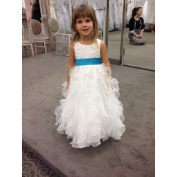 American married flower girl dress children dress autumn and winter dance presided performance dress white dress child