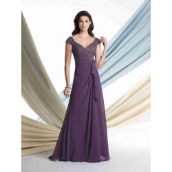 European market and the US market straight lines shaped shoulder chiffon dress yarn new winter style deep v dress sexy evening gown Ms. Mom