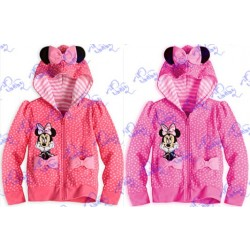 Promotional low price children's clothing girls cotton dot bow hooded sweater hoodie