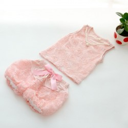 Fast delivery low price children's clothing girls cotton vest lined with roses t-shirt shorts two-piece suits discounts
