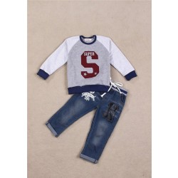 Fast delivery low price children's clothing market in Europe and the US boys cartoon suit casual long-sleeved denim jeans discount