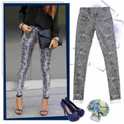 Autumn new models in Europe and the US market tide zebra fashion in cotton stretch jeans waist jeans feet multicolor