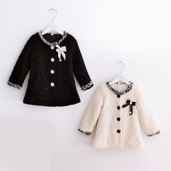 Fast shipping promotion low price children's clothing girls long-sleeved coat solid color beige black modern