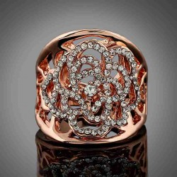 European market and the US market caused diamond jewelry sales lady noble hollow flower shape diamond ring